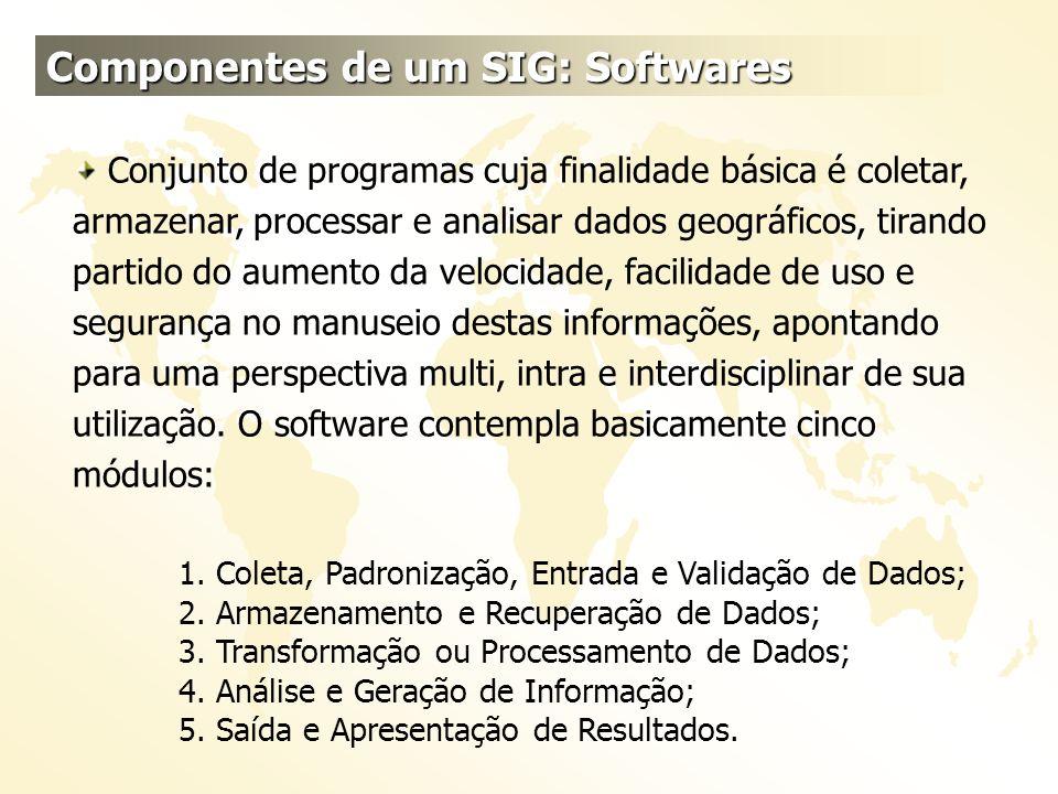 Componentes de um SIG: Softwares Conjunto de programas cuja finalidade básica é coletar, armazenar, processar e analisar dados geográficos, tirando pa