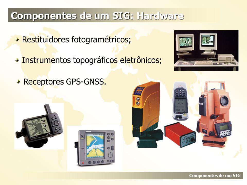 Componentes de um SIG: Hardware Componentes de um SIG Instrumentos topográficos eletrônicos; Receptores GPS-GNSS. Restituidores fotogramétricos;