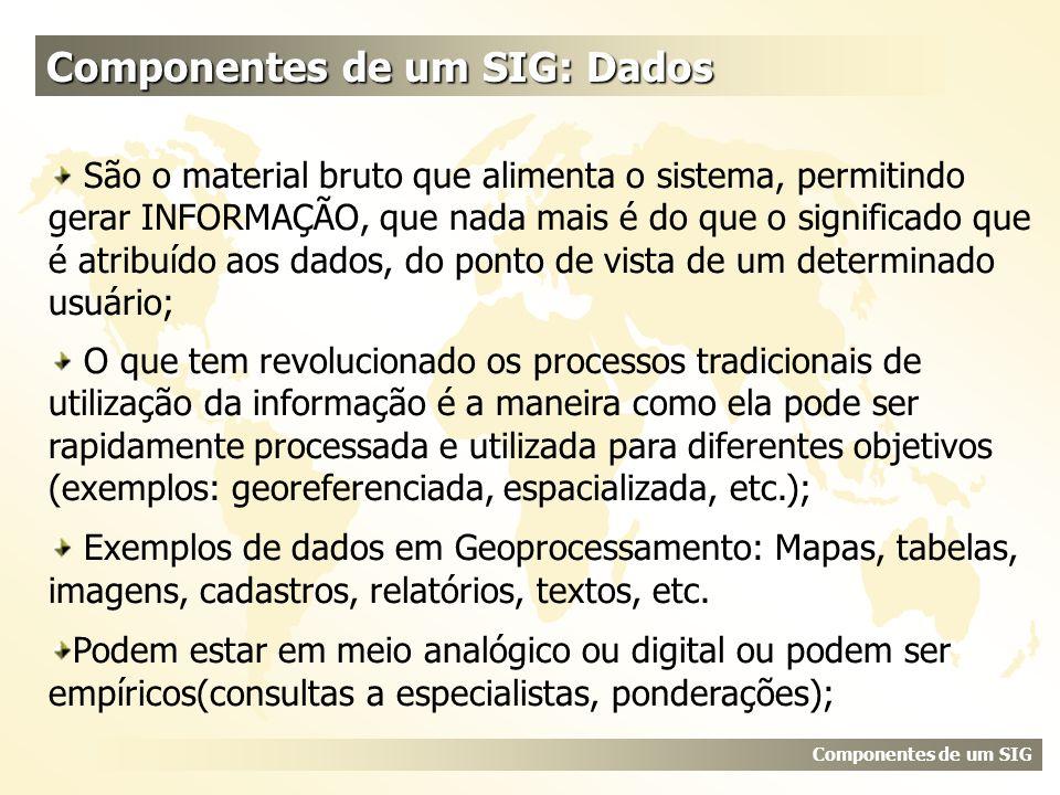Componentes de um SIG: Dados Componentes de um SIG São o material bruto que alimenta o sistema, permitindo gerar INFORMAÇÃO, que nada mais é do que o