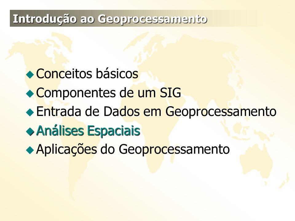 u Conceitos básicos u Componentes de um SIG u Entrada de Dados em Geoprocessamento u Análises Espaciais u Aplicações do Geoprocessamento Introdução ao