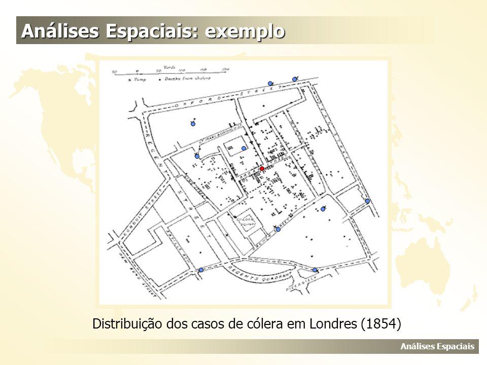 Análises Espaciais Análises Espaciais: exemplo Distribuição dos casos de cólera em Londres (1854)