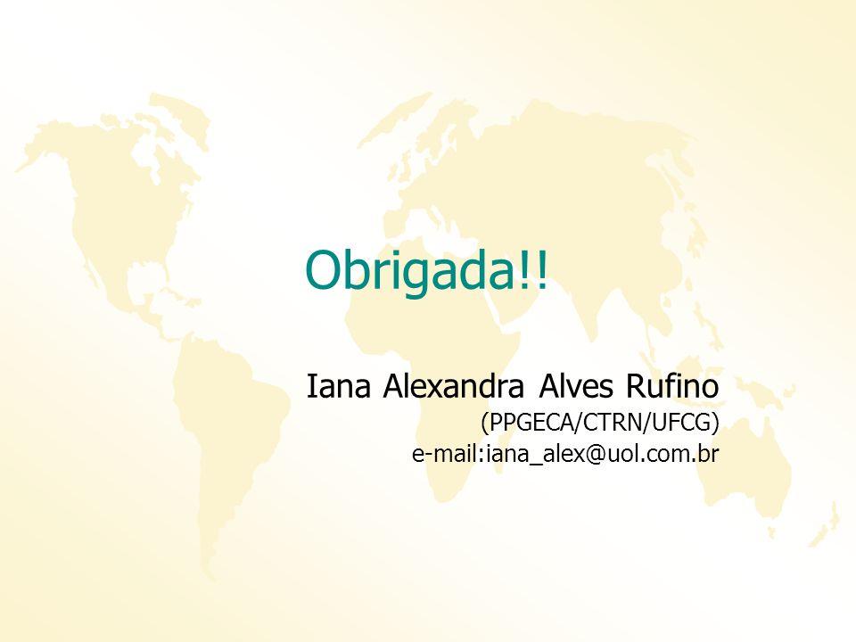 Obrigada!! Iana Alexandra Alves Rufino (PPGECA/CTRN/UFCG) e-mail:iana_alex@uol.com.br