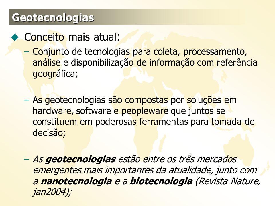 Geotecnologias u Conceito mais atual : –Conjunto de tecnologias para coleta, processamento, análise e disponibilização de informação com referência ge