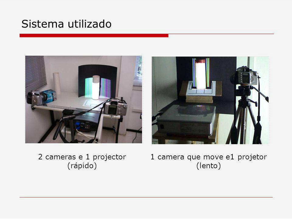 Sistema utilizado 2 cameras e 1 projector (rápido) 1 camera que move e1 projetor (lento)