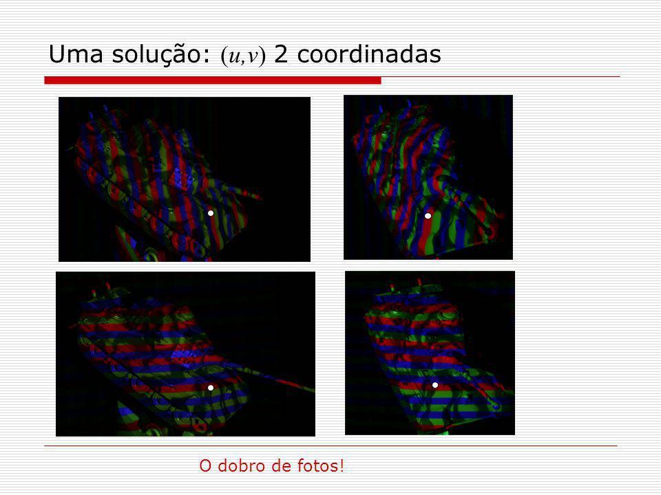 Uma solução: (u,v) 2 coordinadas O dobro de fotos!