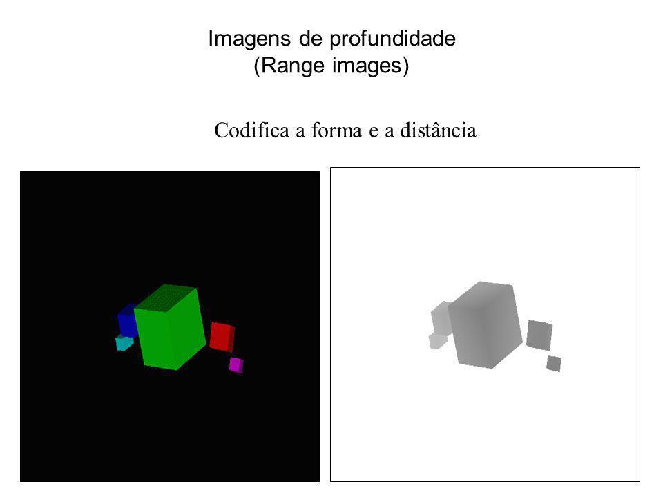 Imagens de profundidade (Range images) Codifica a forma e a distância