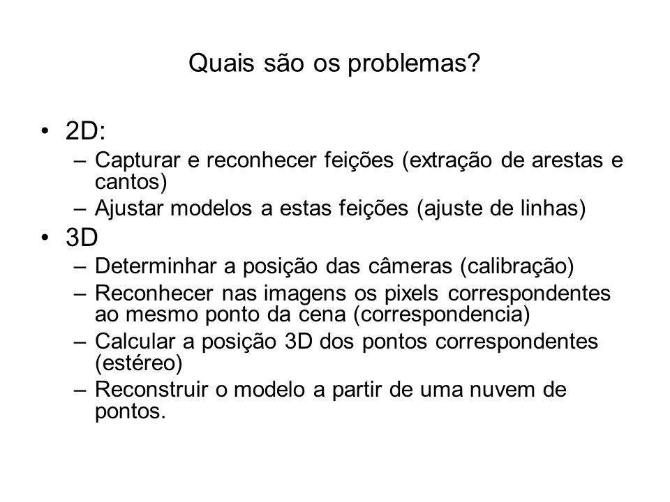 Quais são os problemas? 2D: –Capturar e reconhecer feições (extração de arestas e cantos) –Ajustar modelos a estas feições (ajuste de linhas) 3D –Dete