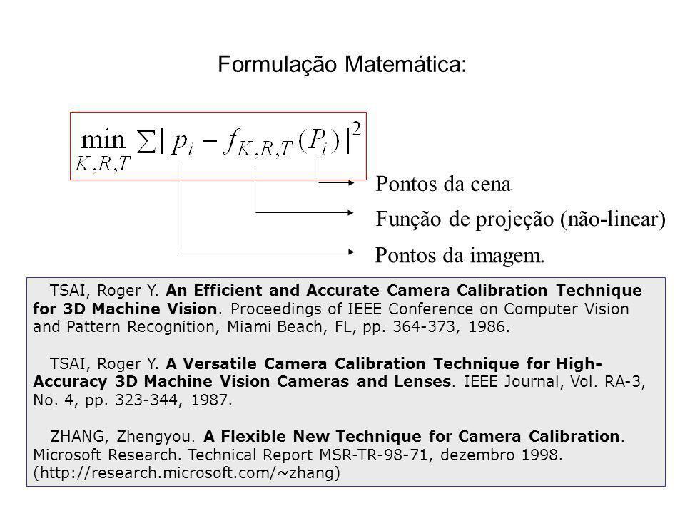 Formulação Matemática: Pontos da cena Pontos da imagem. Função de projeção (não-linear) TSAI, Roger Y. An Efficient and Accurate Camera Calibration Te
