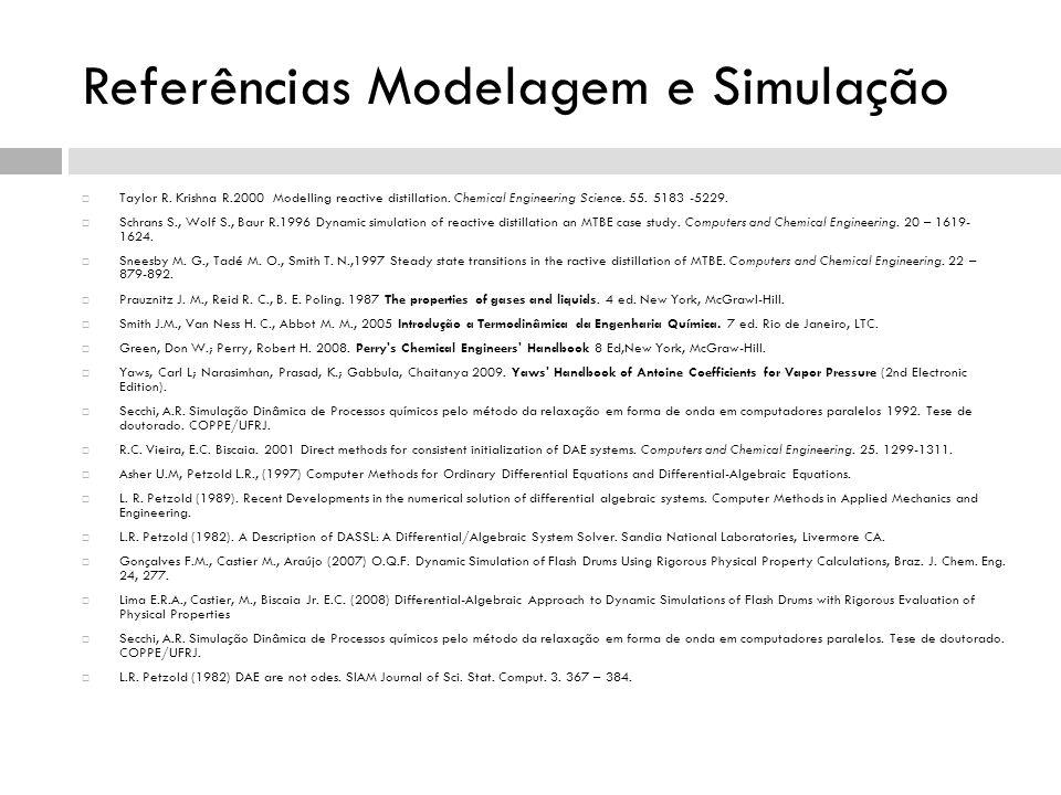 Referências Modelagem e Simulação Taylor R. Krishna R.2000 Modelling reactive distillation. Chemical Engineering Science. 55. 5183 -5229. Schrans S.,