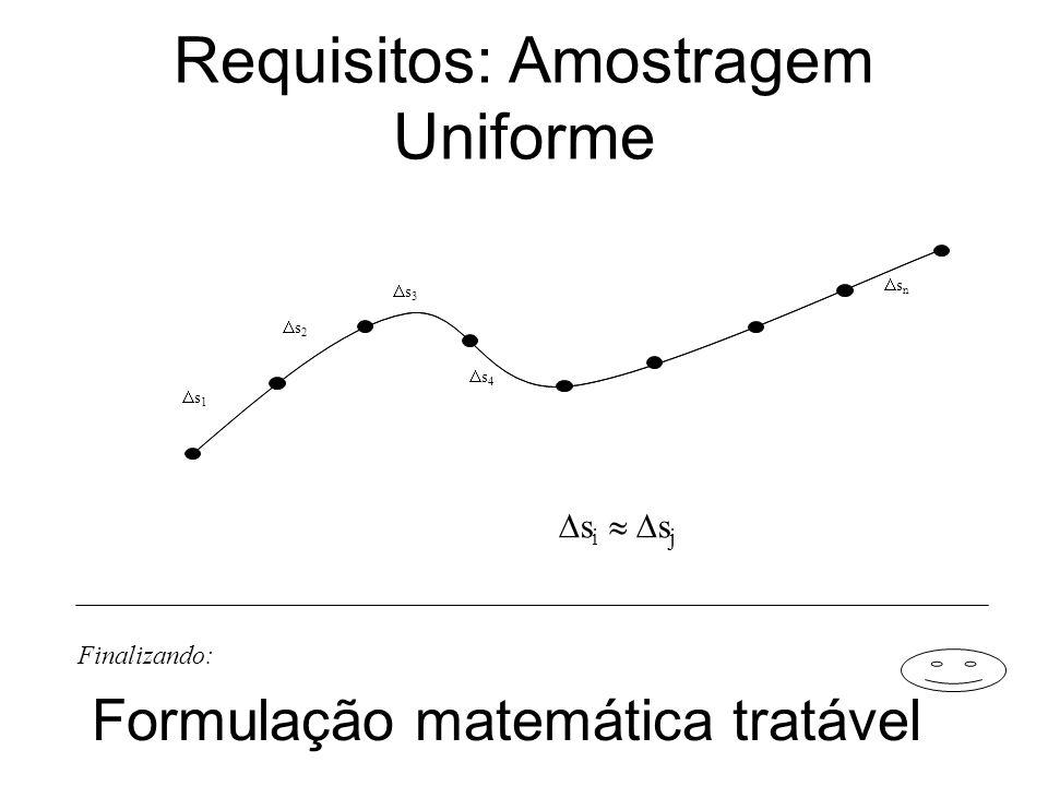 Requisitos: Amostragem Uniforme s 1 s 2 s 3 s 4 s n s i s j Formulação matemática tratável Finalizando: