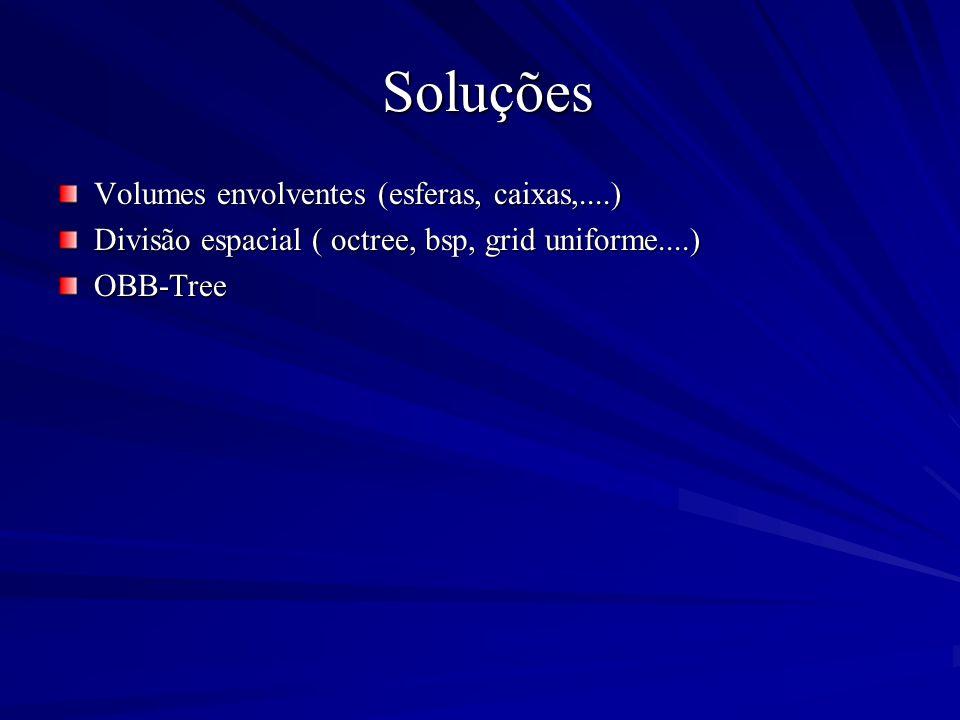 Soluções Soluções Volumes envolventes (esferas, caixas,....) Divisão espacial ( octree, bsp, grid uniforme....) OBB-Tree