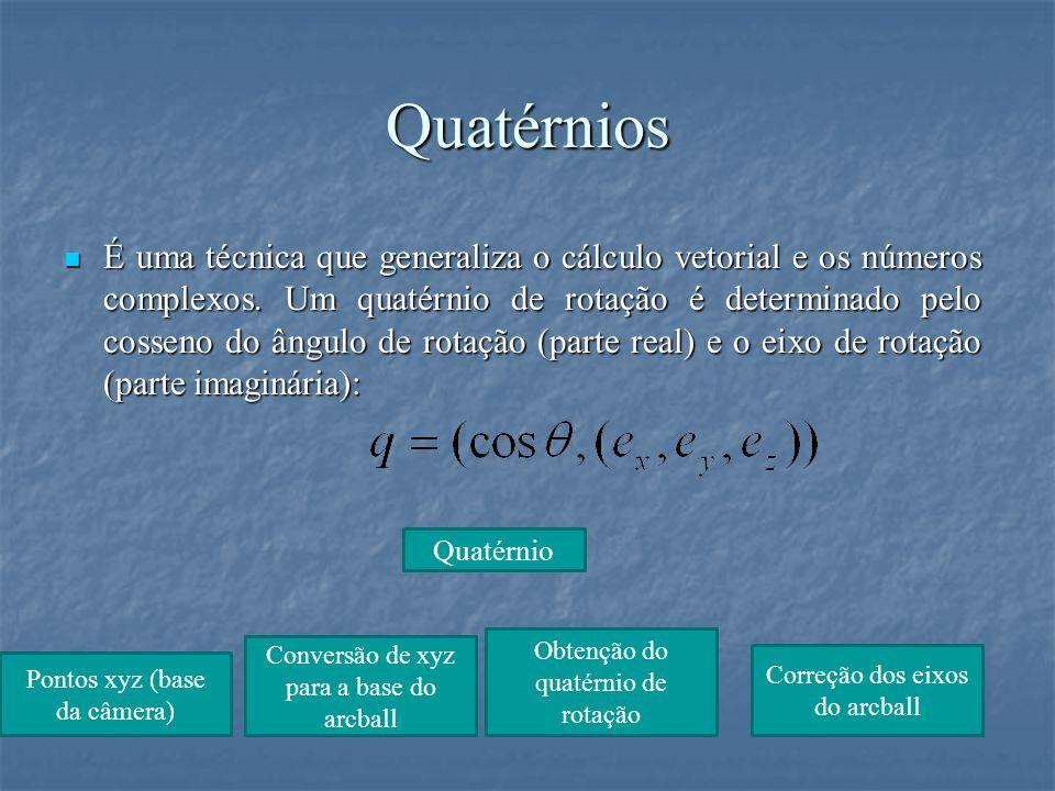 Quatérnios É uma técnica que generaliza o cálculo vetorial e os números complexos. Um quatérnio de rotação é determinado pelo cosseno do ângulo de rot