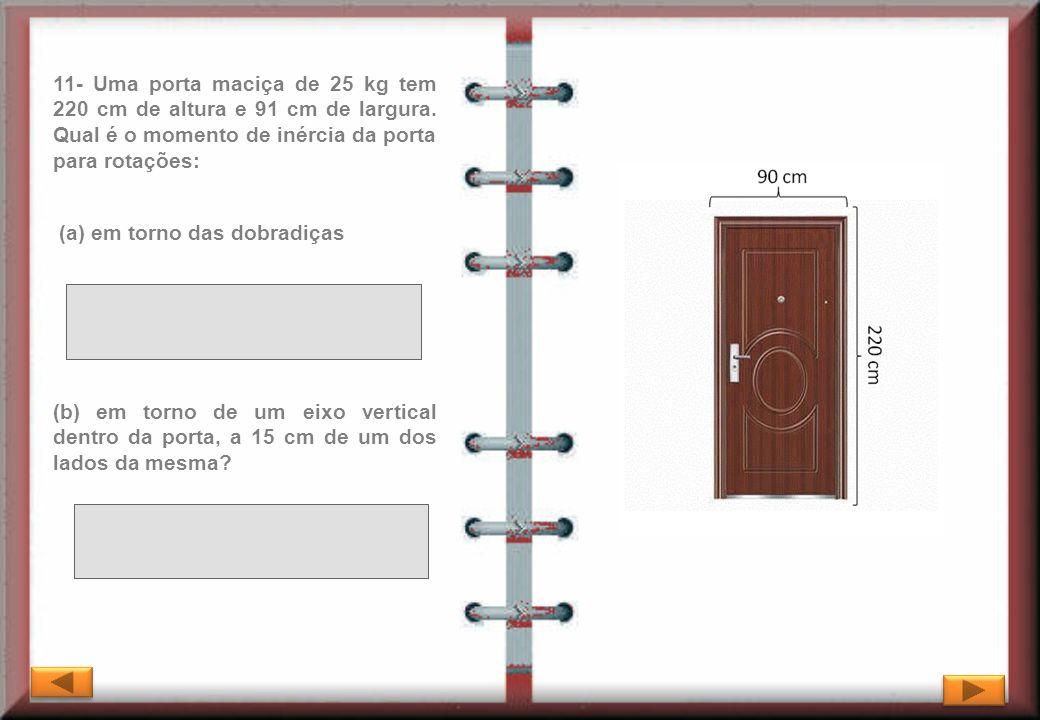 11- Uma porta maciça de 25 kg tem 220 cm de altura e 91 cm de largura. Qual é o momento de inércia da porta para rotações: (b) em torno de um eixo ver