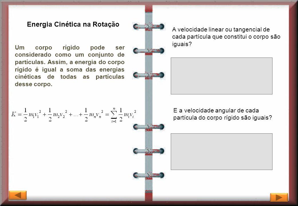 Energia Cinética na Rotação Um corpo rígido pode ser considerado como um conjunto de partículas. Assim, a energia do corpo rígido é igual a soma das e