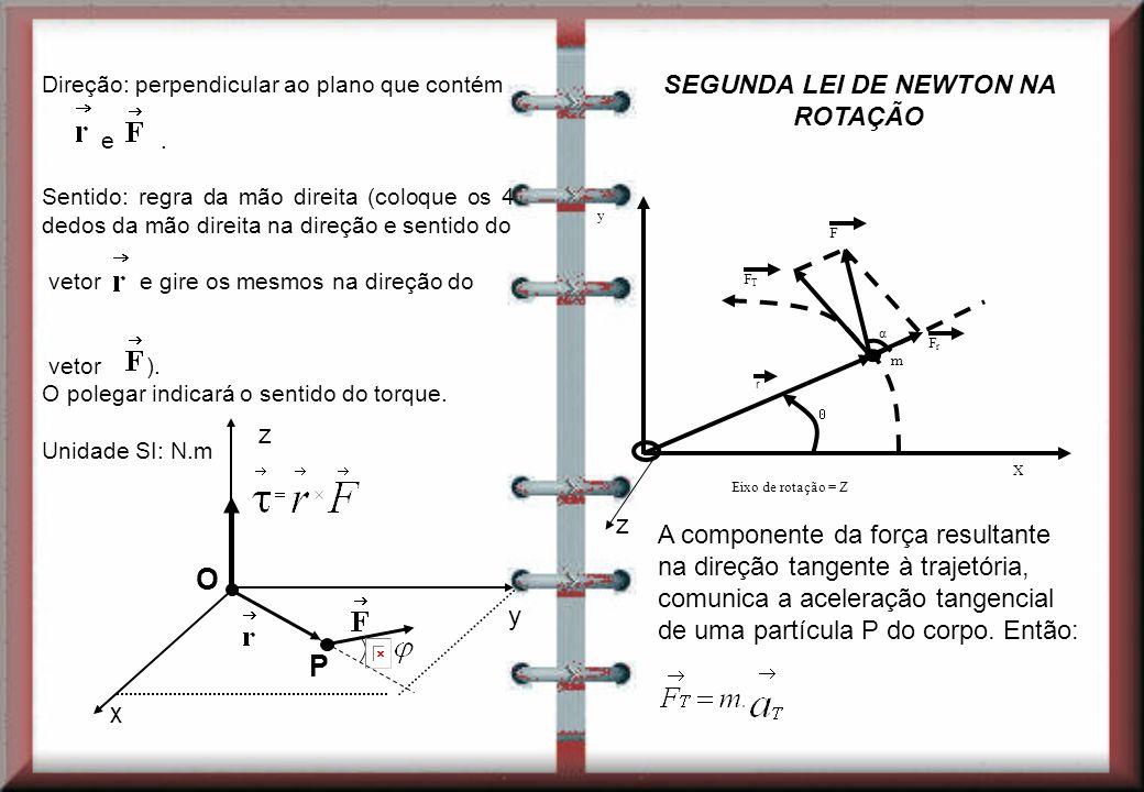 Direção: perpendicular ao plano que contém e. Sentido: regra da mão direita (coloque os 4 dedos da mão direita na direção e sentido do vetor e gire os
