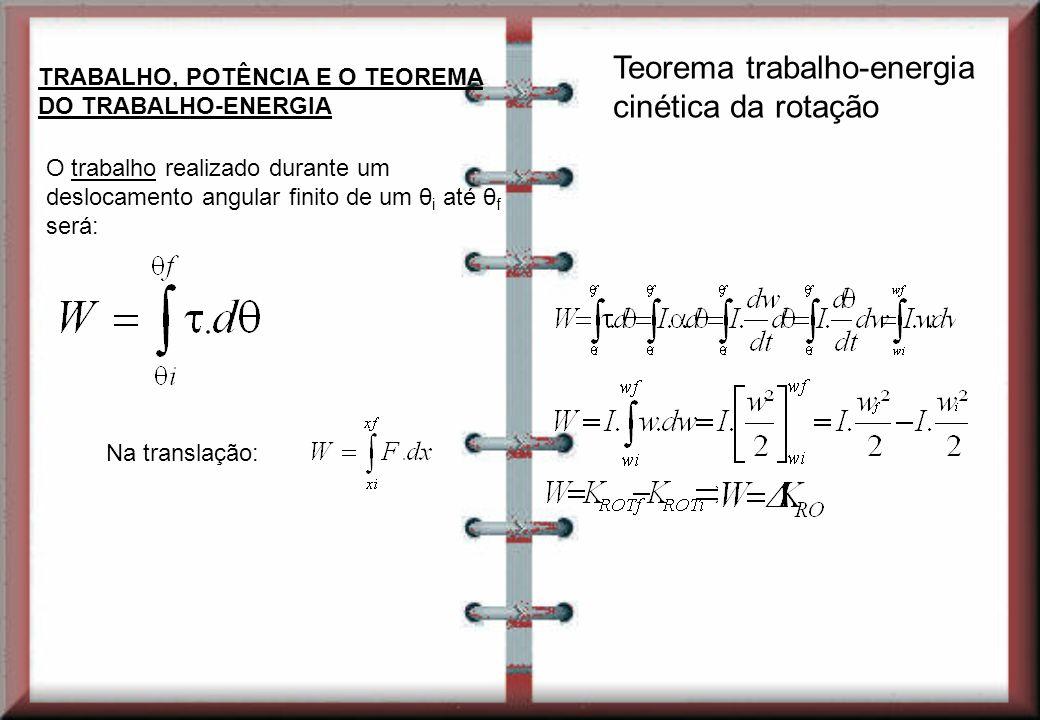 TRABALHO, POTÊNCIA E O TEOREMA DO TRABALHO-ENERGIA O trabalho realizado durante um deslocamento angular finito de um θ i até θ f será: Na translação: