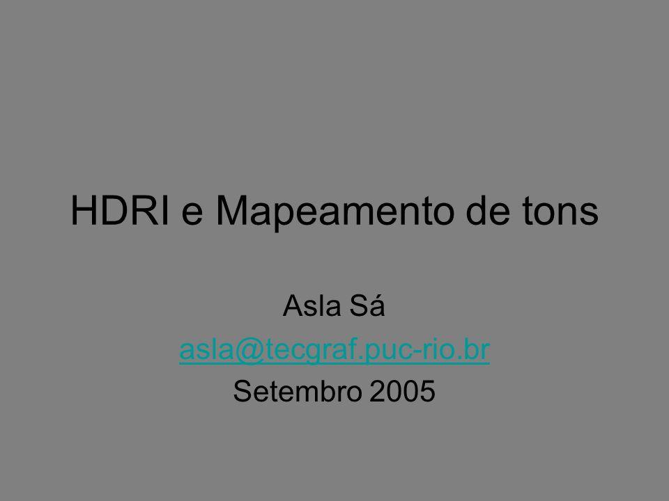 Formatos HDRI Formatos de Imagem HDR –Extensões de formatos de imagem clássicos podem ser propostos, assim como novos formatos.