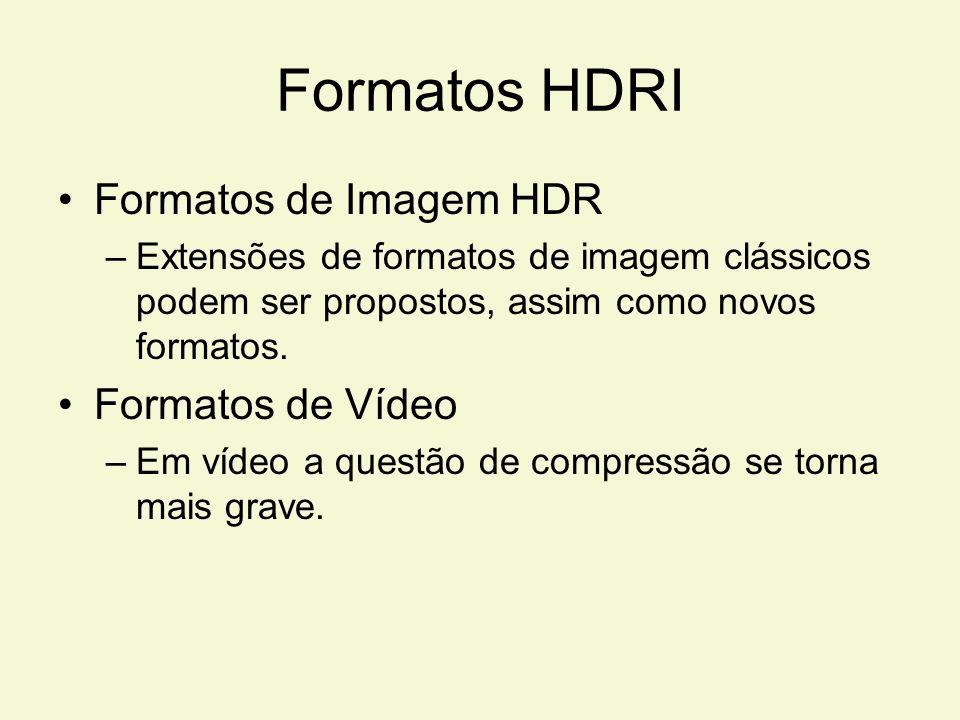 Formatos HDRI Formatos de Imagem HDR –Extensões de formatos de imagem clássicos podem ser propostos, assim como novos formatos. Formatos de Vídeo –Em