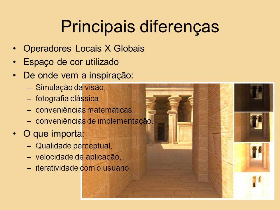 Principais diferenças Operadores Locais X Globais Espaço de cor utilizado De onde vem a inspiração: –Simulação da visão, –fotografia clássica, –conven
