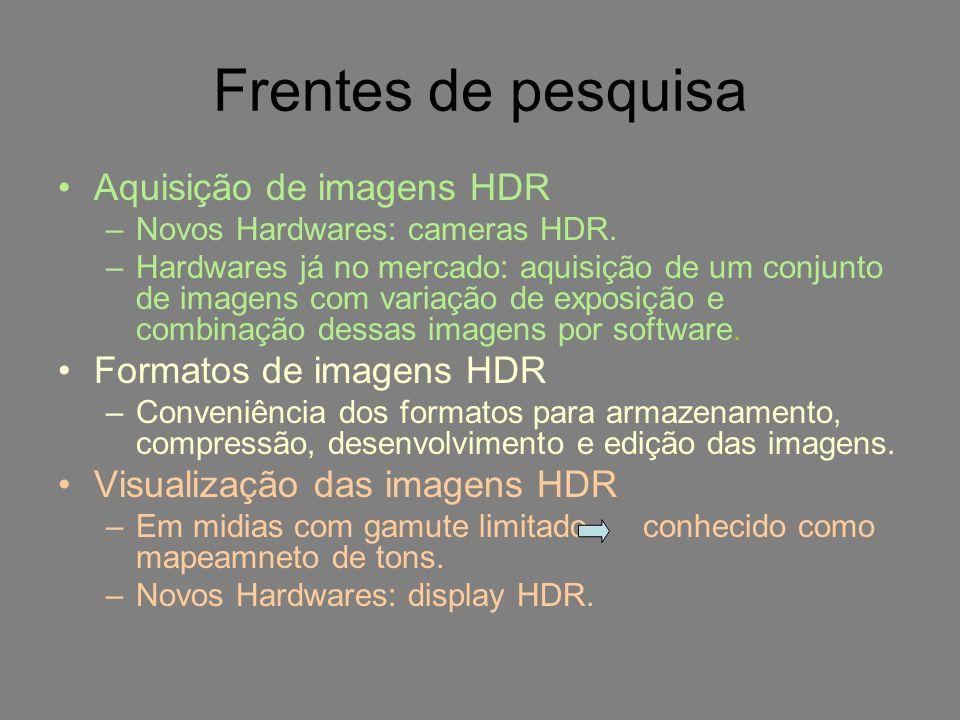 Frentes de pesquisa Aquisição de imagens HDR –Novos Hardwares: cameras HDR. –Hardwares já no mercado: aquisição de um conjunto de imagens com variação