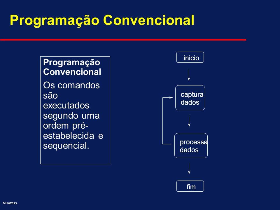 MGattass Programação Convencional Os comandos são executados segundo uma ordem pré- estabelecida e sequencial. Programação Convencional captura dados