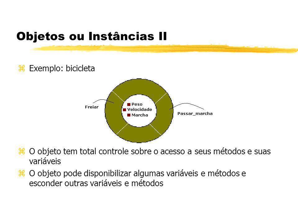 Objetos ou Instâncias II zExemplo: bicicleta zO objeto tem total controle sobre o acesso a seus métodos e suas variáveis zO objeto pode disponibilizar
