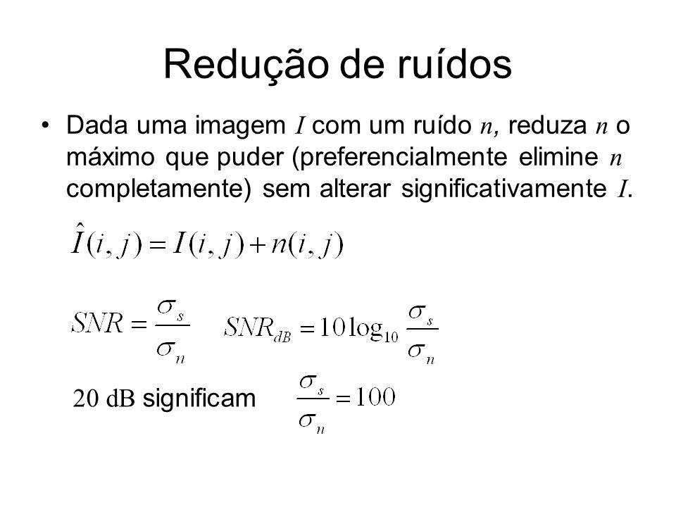 Dois tipos básicos de ruídos Ruído Gaussiano branco : processo estocástico de média zero, independente do tempo e dos espaço.