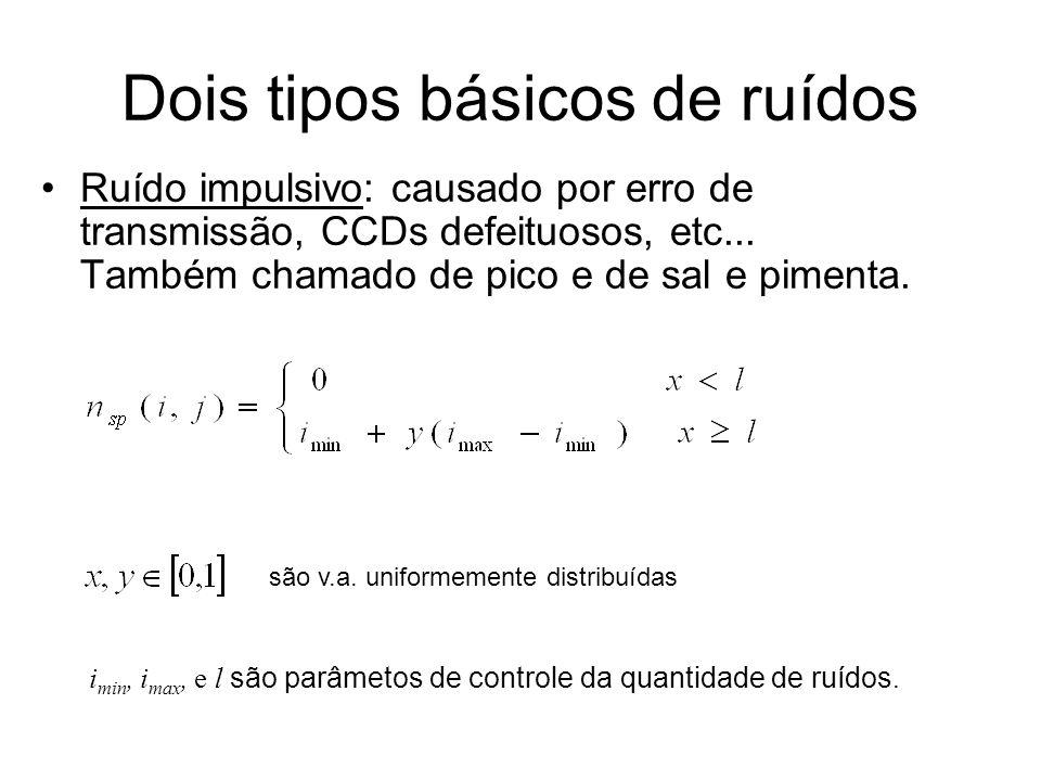 Exemplo de ruído Gaussiano ( =5) e Impulsivo ( =0.99)