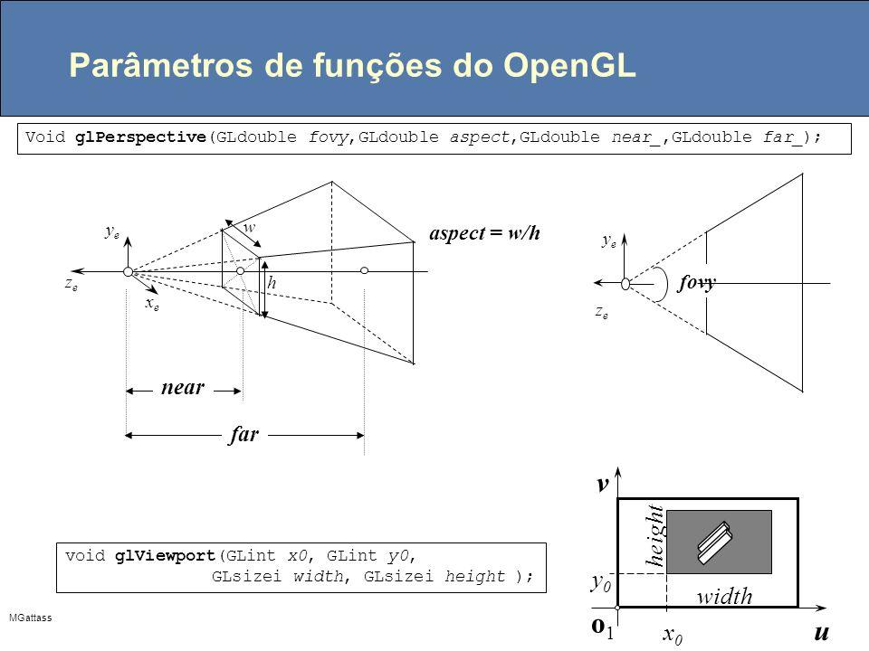 MGattass Parâmetros de funções do OpenGL Void glPerspective(GLdouble fovy,GLdouble aspect,GLdouble near_,GLdouble far_); aspect = w/h xexe yeye zeze n
