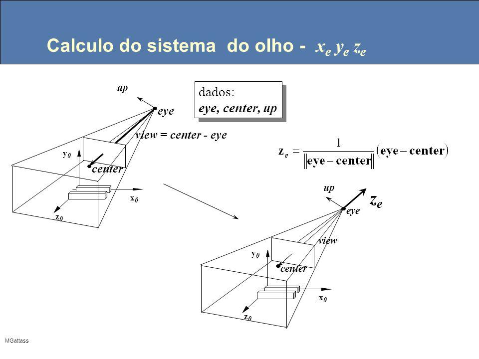 MGattass Calculo do sistema do olho - x e y e z e center zeze eye up z0z0 y0y0 x0x0 view up center eye z0z0 y0y0 x0x0 dados: eye, center, up dados: ey