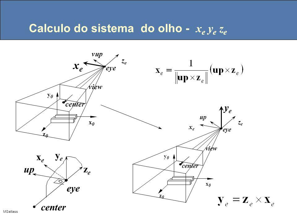 MGattass Calculo do sistema do olho - x e y e z e center eye vup z0z0 y0y0 x0x0 view zeze xexe center eye up z0z0 y0y0 x0x0 view zeze xexe yeye eye up