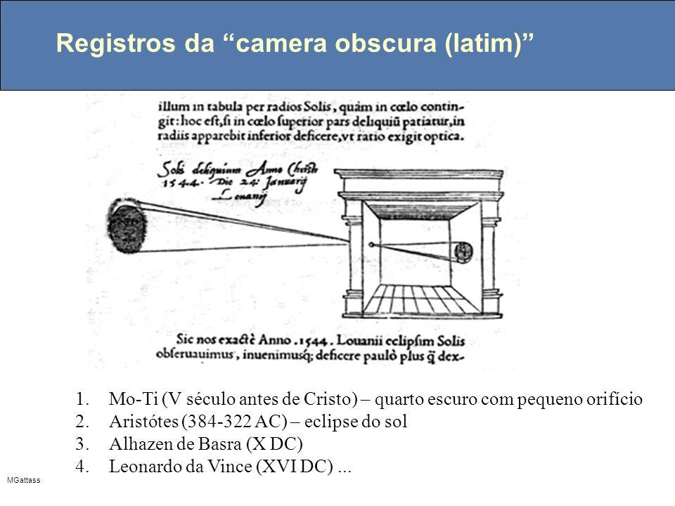 MGattass Registros da camera obscura (latim) 1.Mo-Ti (V século antes de Cristo) – quarto escuro com pequeno orifício 2.Aristótes (384-322 AC) – eclips