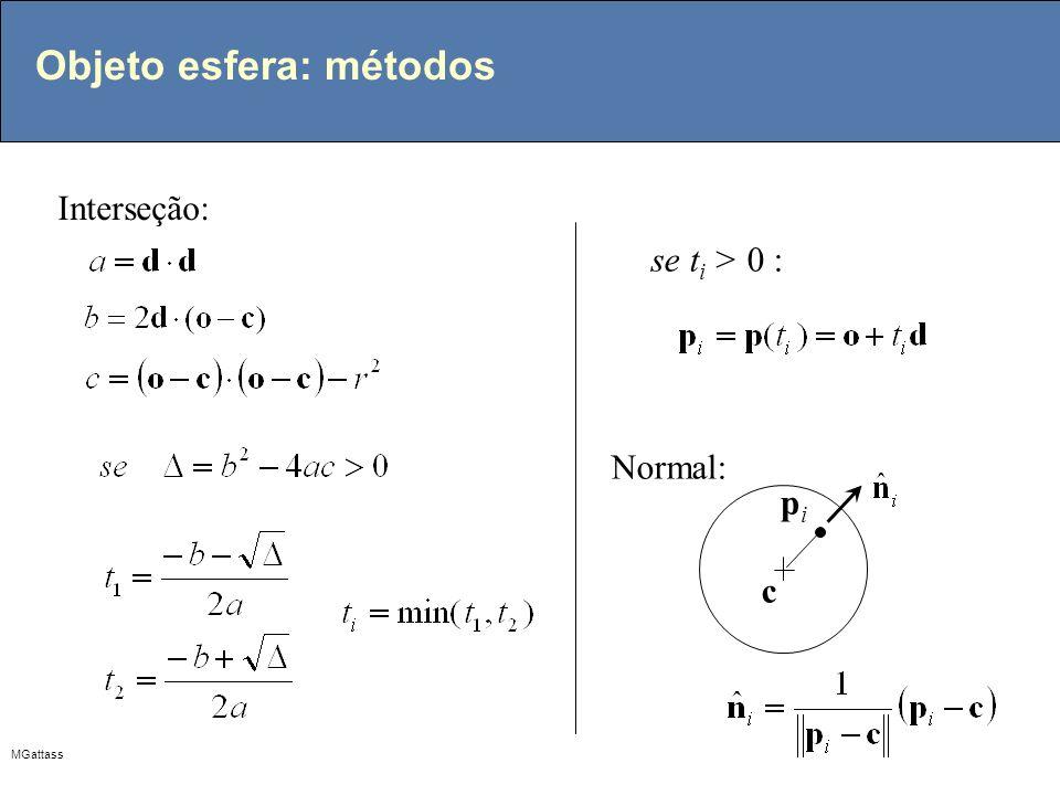 MGattass Objeto esfera: métodos Interseção: se t i > 0 : c pipi Normal: