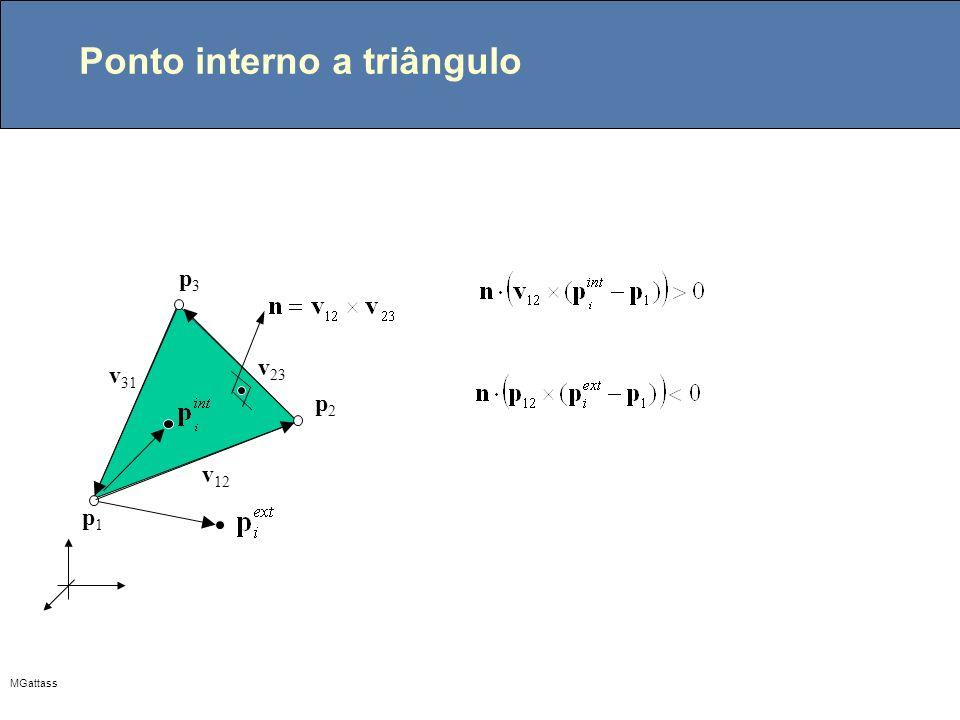 MGattass Ponto interno a triângulo p1p1 p2p2 p3p3 v 31 v 12 v 23
