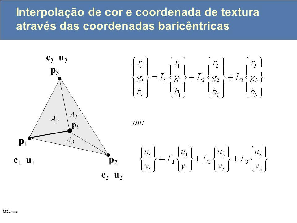 MGattass Interpolação de cor e coordenada de textura através das coordenadas baricêntricas ou: p1p1 pipi A3A3 A1A1 A2A2 p3p3 p2p2 c1c1 u1u1 c2c2 u2u2