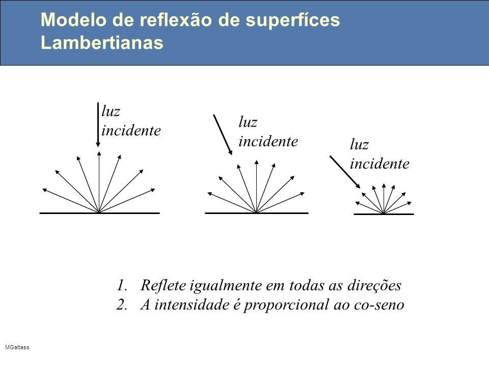 MGattass Modelo de reflexão de superfíces Lambertianas luz incidente 1.Reflete igualmente em todas as direções 2.A intensidade é proporcional ao co-se