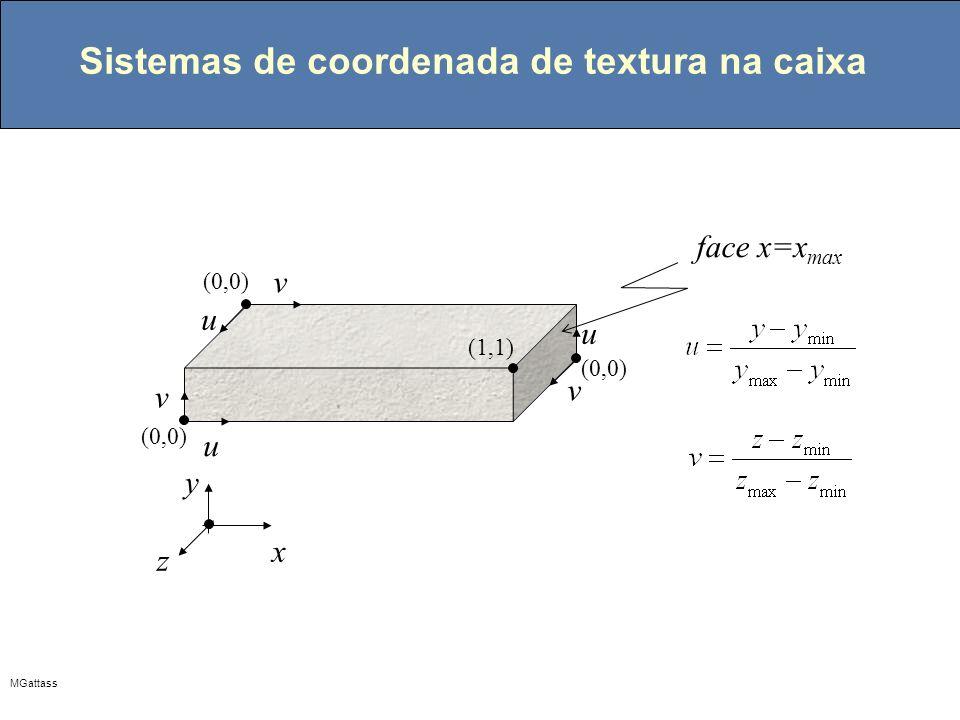 MGattass Sistemas de coordenada de textura na caixa u v u v x y z u v (1,1) (0,0) face x=x max