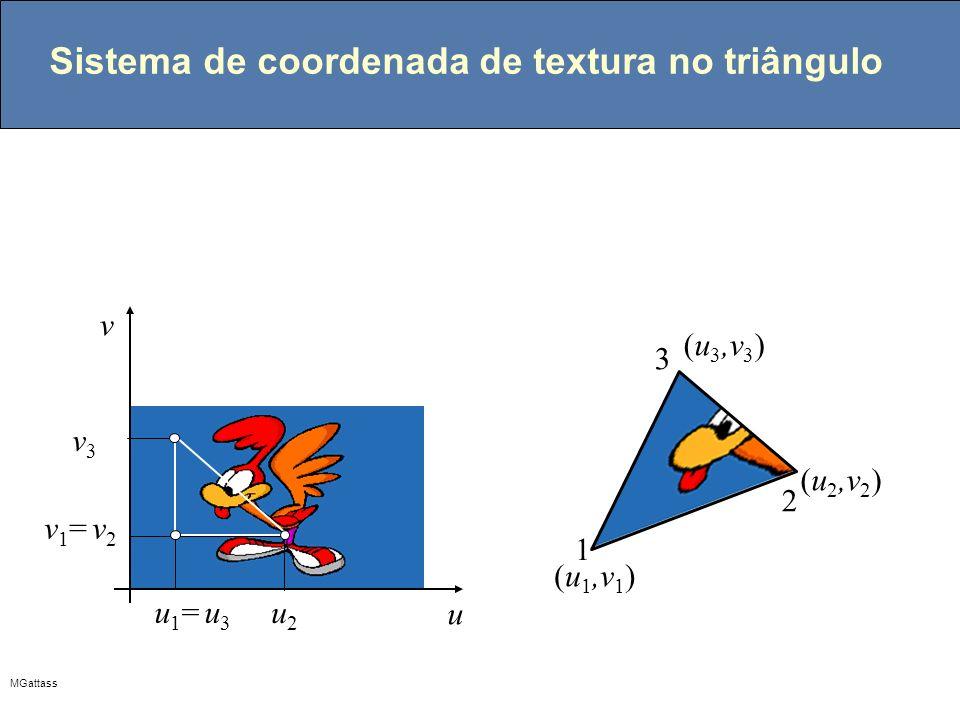 MGattass Sistema de coordenada de textura no triângulo u v (u 1,v 1 ) (u 2,v 2 ) (u 3,v 3 ) u1= u3u1= u3 u2u2 v1= v2v1= v2 v3v3 1 2 3