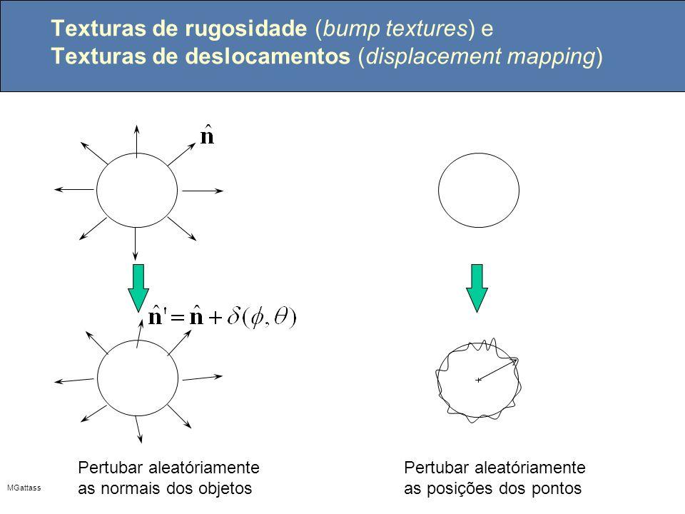 MGattass Texturas de rugosidade (bump textures) e Texturas de deslocamentos (displacement mapping) Pertubar aleatóriamente as normais dos objetos Pert