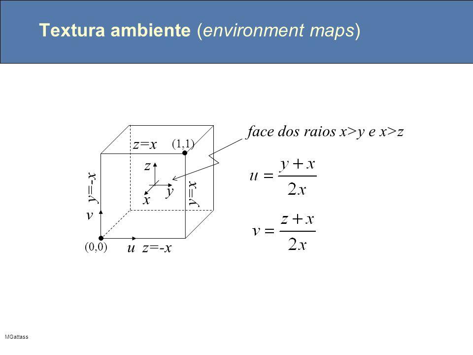MGattass Textura ambiente (environment maps) x y z u v (0,0) (1,1) face dos raios x>y e x>z y=-x y=x z=-x z=x