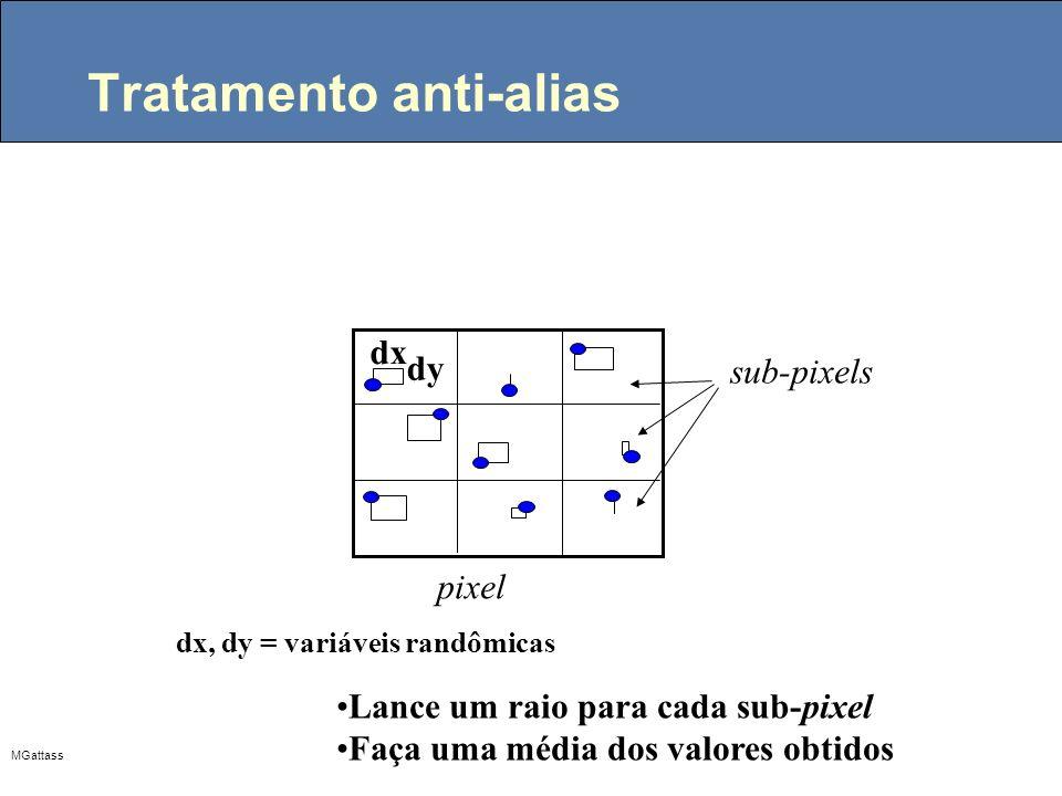 MGattass Tratamento anti-alias Lance um raio para cada sub-pixel Faça uma média dos valores obtidos dx, dy = variáveis randômicas dx dy a sub-pixels p