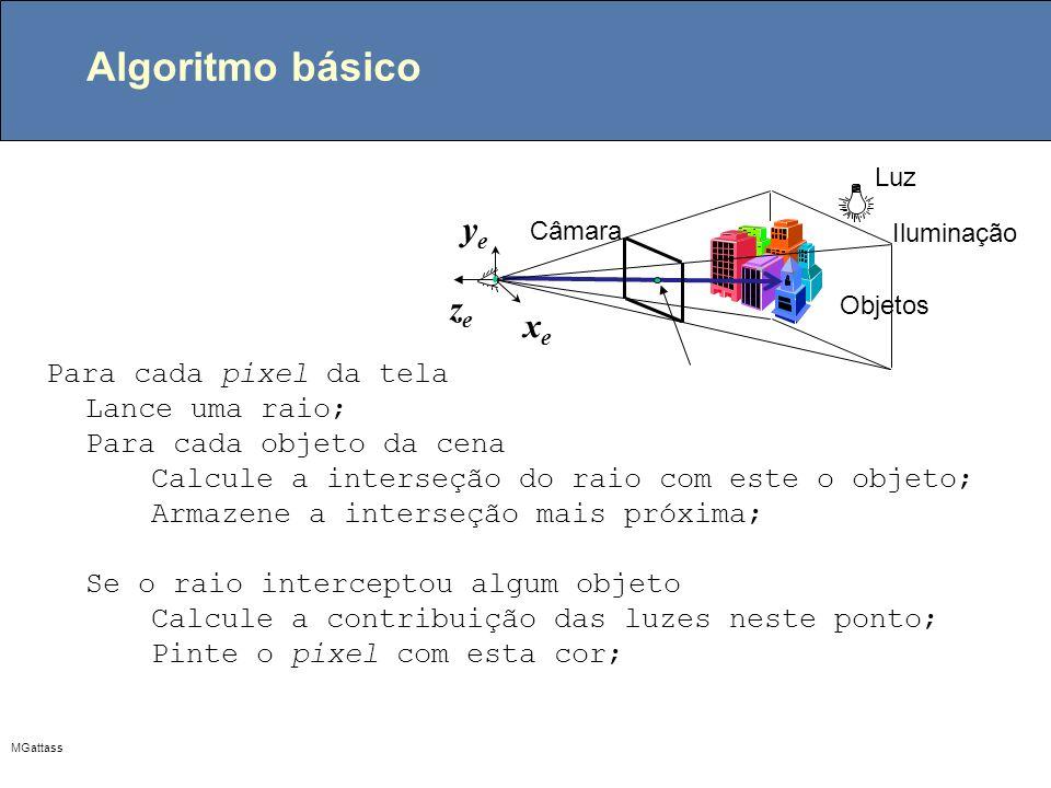 MGattass Algoritmo de traçado de raios Color trace (Scene scene, Vector3d eye, Vector3d ray, int depth) { determine a interseção mais próxima com um objeto if (intercepta objeto) { calcule a normal no ponto de interseção return ( shade ( scene, object, ray, point, normal, depth)); } return BACKGROUND; } Color trace (Scene scene, Vector3d eye, Vector3d ray, int depth) { determine a interseção mais próxima com um objeto if (intercepta objeto) { calcule a normal no ponto de interseção return ( shade ( scene, object, ray, point, normal, depth)); } return BACKGROUND; } selecione o centro de projeção(eye) e uma janela no plano de projeção for (cada pixel da tela) { determine o raio ray que vai do centro de projeção ao pixel; pixel = trace ( ray, 1); } selecione o centro de projeção(eye) e uma janela no plano de projeção for (cada pixel da tela) { determine o raio ray que vai do centro de projeção ao pixel; pixel = trace ( ray, 1); }