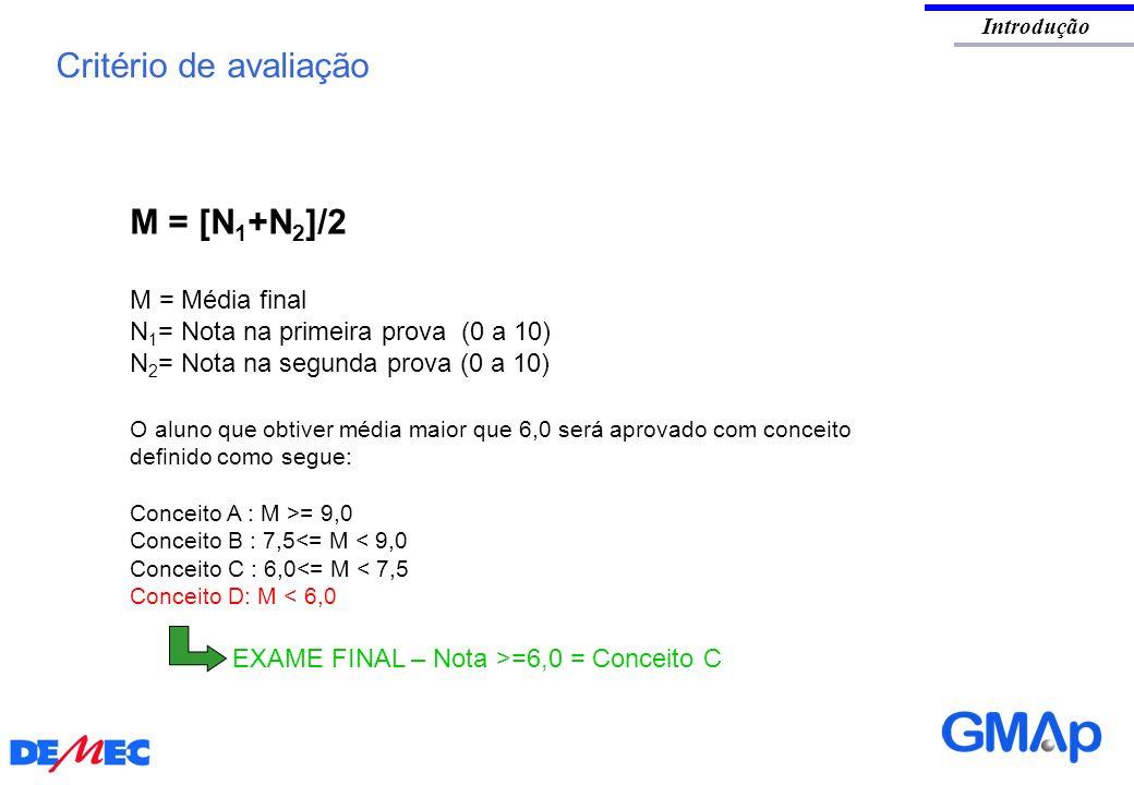 Introdução Critério de avaliação M = [N 1 +N 2 ]/2 M = Média final N 1 = Nota na primeira prova (0 a 10) N 2 = Nota na segunda prova (0 a 10) O aluno