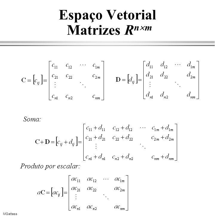 MGattass Espaço Vetorial Matrizes R n m Soma: Produto por escalar: