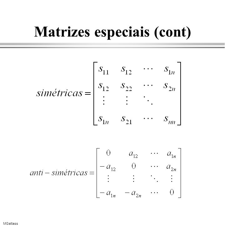 MGattass Matrizes especiais (cont)