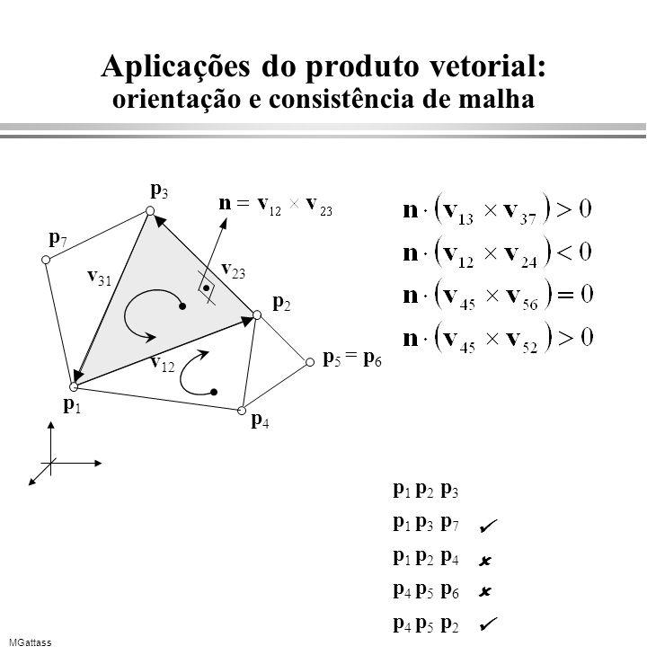 MGattass Aplicações do produto vetorial: orientação e consistência de malha p1p1 p2p2 p3p3 v 31 v 12 v 23 p4p4 p7p7 p 5 = p 6 p 1 p 2 p 3 p 1 p 3 p 7