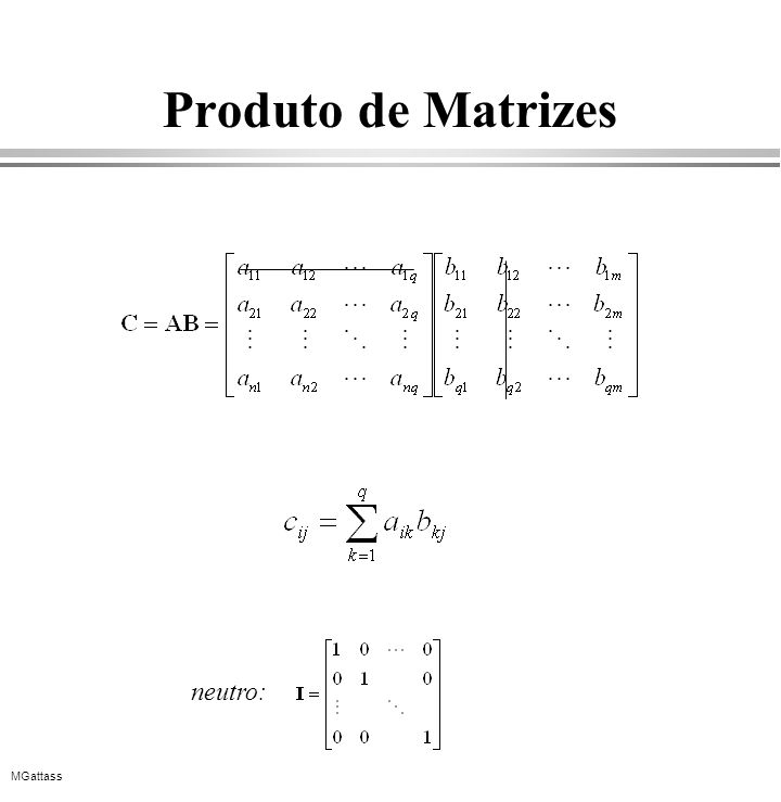 MGattass Produto de Matrizes neutro: