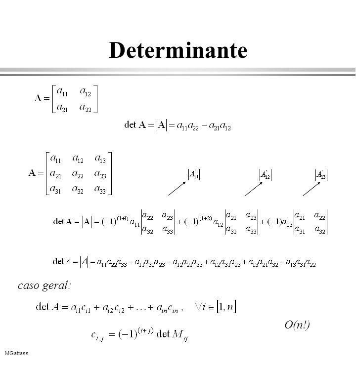 MGattass Determinante O(n!) caso geral: