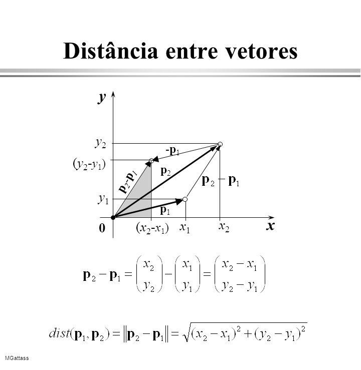 MGattass Distância entre vetores y x x1x1 y1y1 0 x2x2 y2y2 p2p2 p2-p1p2-p1 -p1-p1 (x2-x1)(x2-x1) (y2-y1)(y2-y1) p1p1