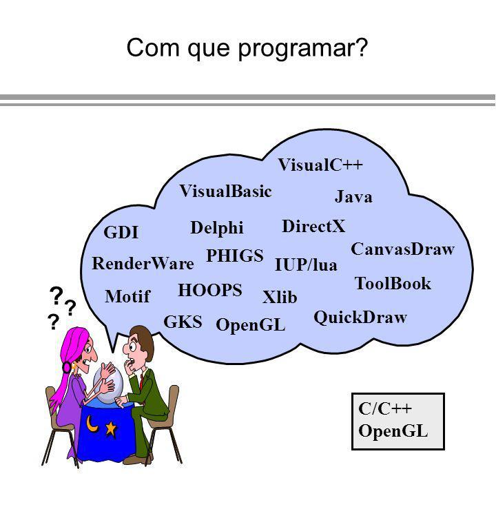 Com que programar? Motif GDI GKS OpenGL QuickDraw Xlib IUP/lua VisualBasic DirectX Java ToolBook VisualC++ PHIGS HOOPS ? ? ? Delphi RenderWare CanvasD